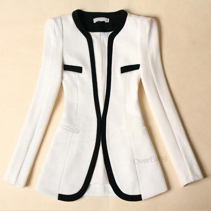 Aliexpress.com da dan deki 2014 yeni moda kış kadın ince blazer ceket rahat blaser uzun kollu v boyun beyaz ve siyah bir düğme takım