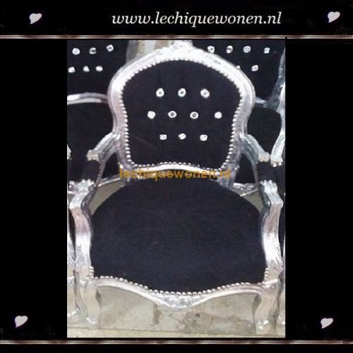 Barok kinderstoeltje glamour zilver zwart strass   Le Chique Wonen