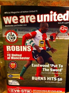 The programme from Ashton United v FC United - blogged about it on The Marple Leaf