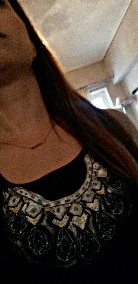 Handpainted,  t shirt, gems,  necklace,  statement