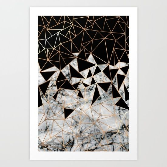 Marble and copper polygon pattern print on society6. Intellectual property of Marta Olga Klara © All rights reserved #Pattern #marble #polygon #background #wallpaper #black #gold #copper #modern #minimal
