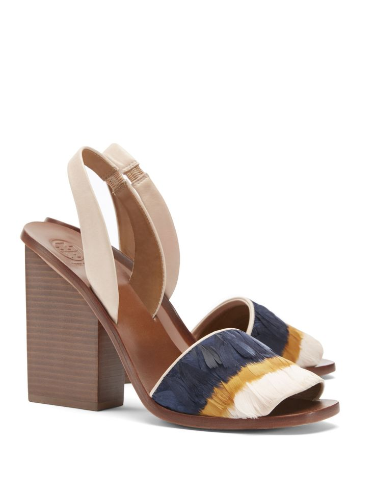 Tory Burch High-Heel Slingback Sandal With Feathers | The Paris Capsule  Collection
