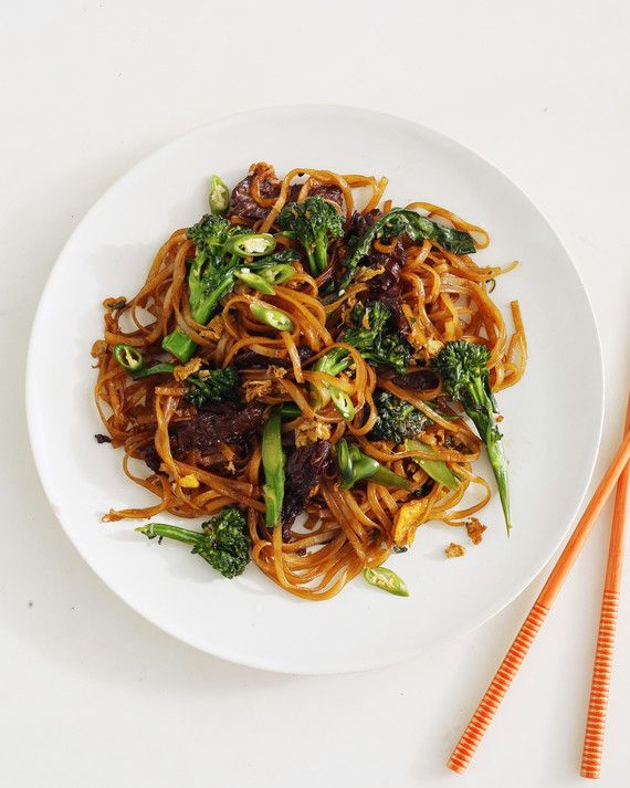 Don't let Pad Thai have all the glory! This traditional Thai dish calls for stir-frying rice noodles in soy sauce and is just as delectable. The recipe goes fast, so make sure you have all your ingredients ready before you start cooking.