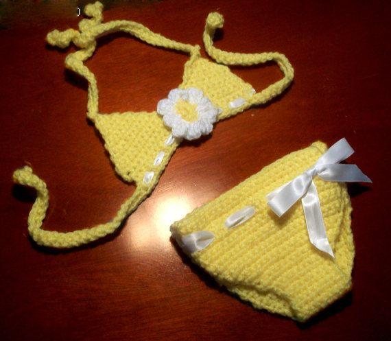 Crochet Baby Toddler Bikini Swimsuit by DelancyDesigns on Etsy, $15.00
