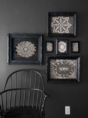 Vintage or op shop doilies on black mats, black frames - Photo by Quentin Bacon | Country Living