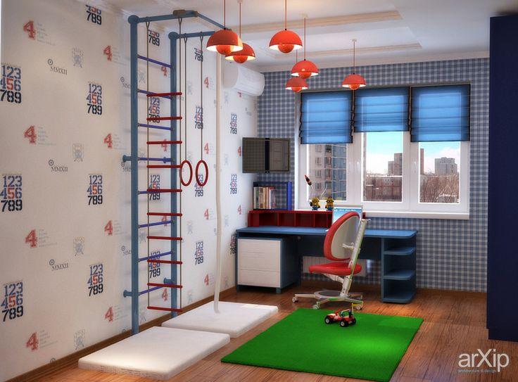 Яркая детская для мальчишек в красно-синих тонах: интерьер, квартира, дом, современный, модернизм, детская комната, 10 - 20 м2 #interiordesign #apartment #house #modern #nursery #10_20m2 arXip.com