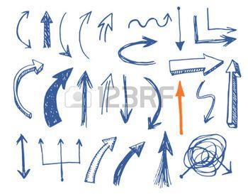 icono flecha: Flechas drenadas mano conjunto de vectores. EPS vector.