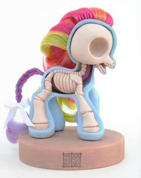 """Toy014 My Little Pony Sculpt by Jason Freeny / Cutaway 4"""" (Modified Vinyl Action Figure) / #Toy"""