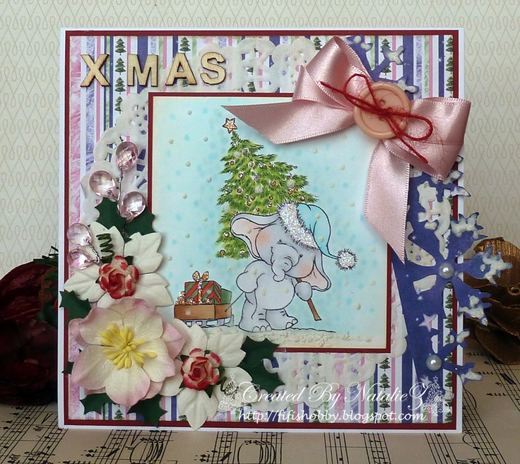 My Creativity Life...: Bella with Sledge....Christmas Card..: Sledge Christmas Card, Sledgechristma Card, Roses Studios, Stamps Baskets, Nice, Studios Stamps, Card Inspiration, Wild Roses