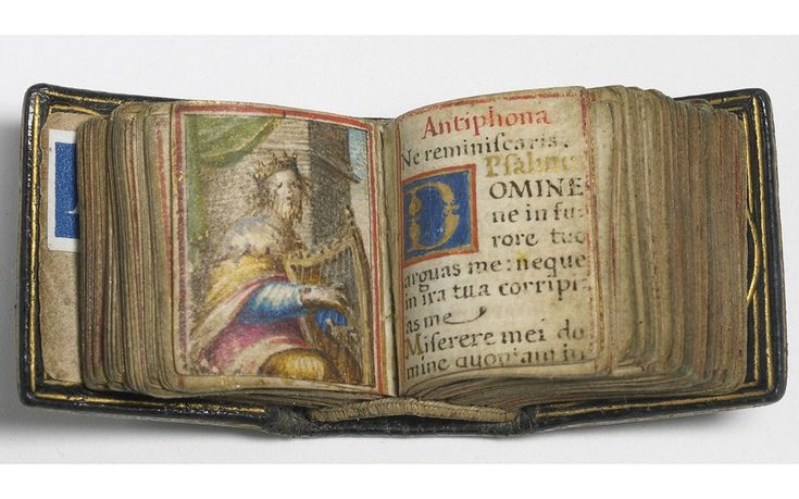 The smallest Renaissance manuscript in existence, less than an inch square, is a book of Latin prayers, and includes 17 paintings of saints, evangelists and apostles, including a delicately executed VirginMary.
