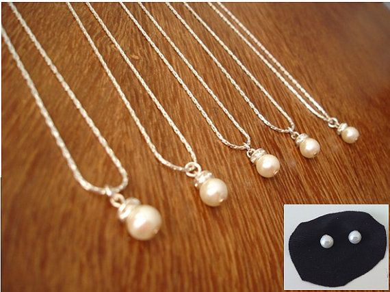 7 Bridesmaids Gift Necklace and Pearl Studs  Simple & by RBJohnson