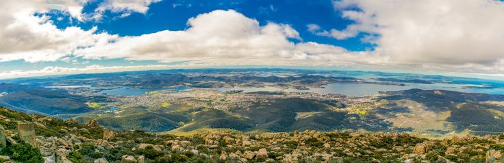 Watching Hobart at Wellington Mountain - I drove miles of twisted mountain road to arrive at top of the Mountain Wellington which is the highest point of Hobart, the beautiful capital city of Tasmania in Australia. It is also the first time that I edited multiple photos in LR and tried the incredible panorama merging function by CS6.