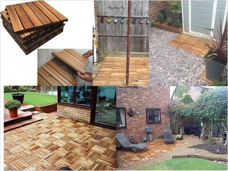 Hardwood Deck Outdoor Tiles Flooring Decking For Patio Balcony Roof Terrace     eBay