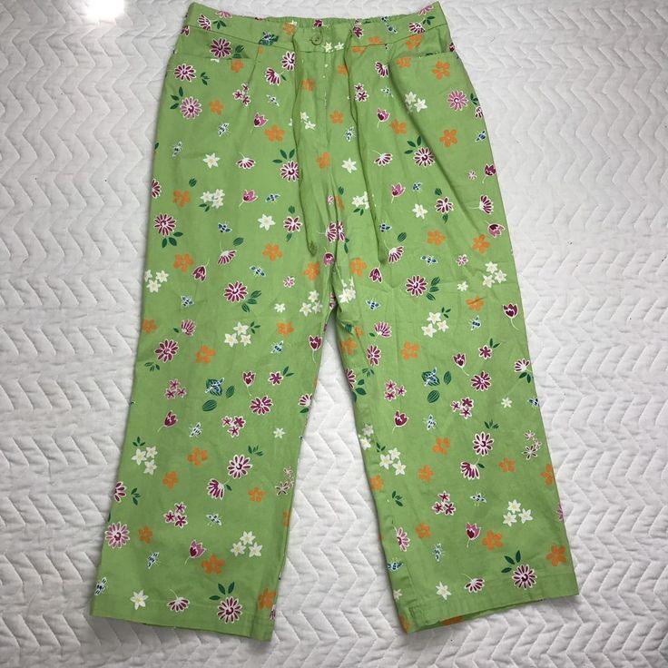 Ladies Safe Harbor Green Floral Cropped Pants Size 14  | eBay