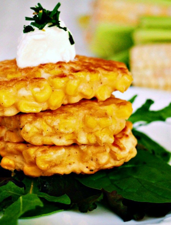 4 Ingredient corn cakes. Only 4 ingredients, these little veggie pancakes are a perfect afternoon snack as is, or can be dressed up and served as appetisers