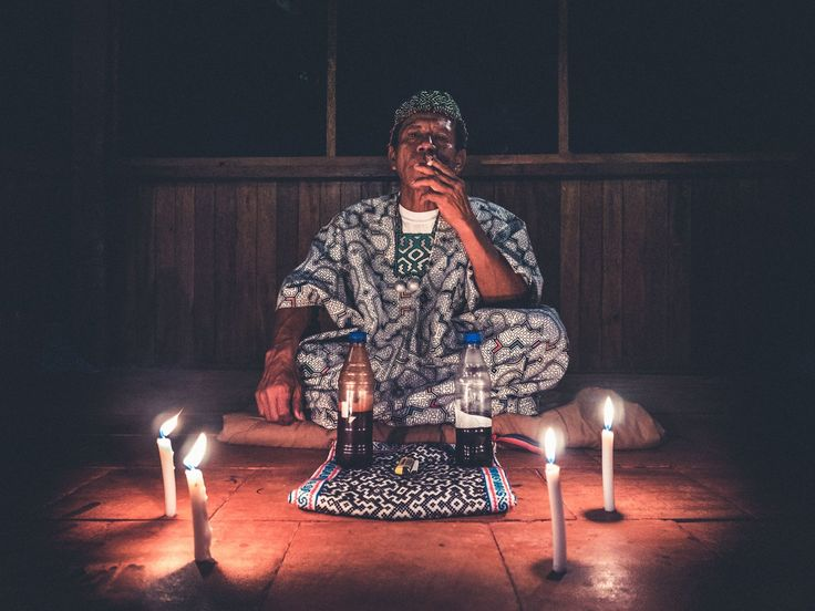 Our Maestro Diohanes preparing for an Ayahuasca ceremony during our 14 day retreat at Lotus Vine Journeys. Our retreats include Buddhist based meditation and yoga.