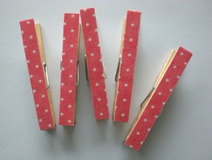 Magnetic fabric covered pegs - pink and white spots