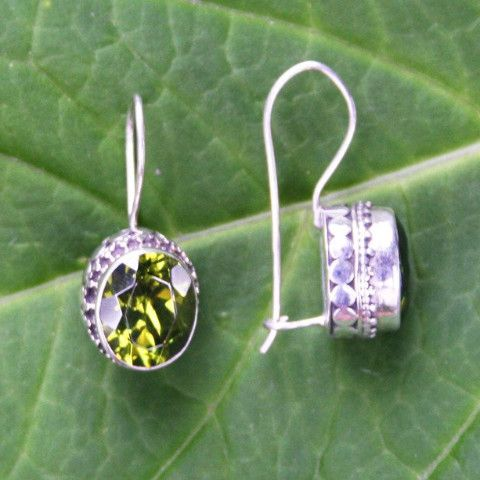 Permata Peridot and Sterling Silver Earrings ONE LEFT!