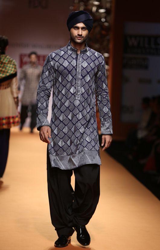 grey steel... Manish Malhotra. Wills Lifestyle India fashion Week, 2013