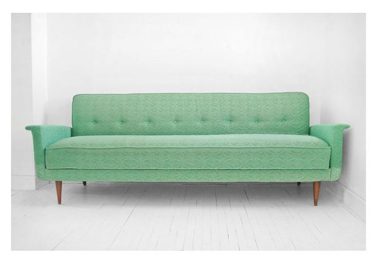 ON HOLD until April 26th - Vintage Sea Foam Green Sofa - Couch, Mid Century, Modern, Retro, Eames. $899.00, via Etsy.