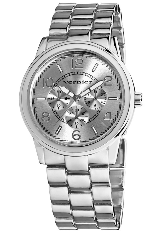 Price:$22.00 #watches Vernier VNR201, Vernier Ladies classic silver tone bracelet watch with a chrono look dial is the perfect piece for any outfit. The boyfriend sized time piece is ready to wear for your casual every day, and is a clean style for evening fun. Features include luminescent hands which show you the time at night, easy to read dial with a Chrono-Look pattern, and Quartz movement.