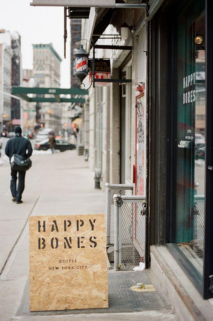 Happy Bones NYC Coffee plywood a-board #a-board