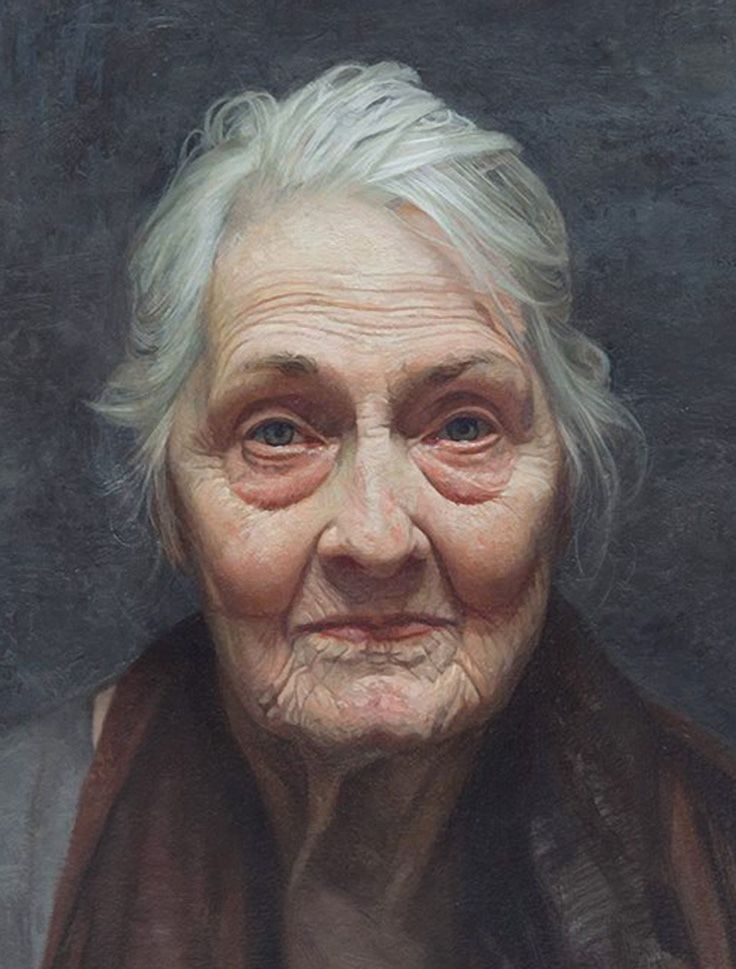 """Jaece Lutece"" - David Jon Kassan, oil on arches oil paper, aluminum panel, 2013 {contemporary figurative realism art female head #hyperreal elderly woman face portrait cropped painting detail #loveart} davidkassan.com"