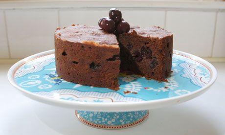 Chocolate, morello and almond cake