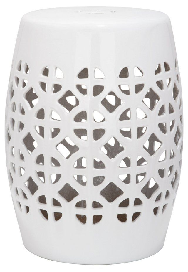 Janera Ceramic Garden Stool, White                                                                                                                                                                                 More
