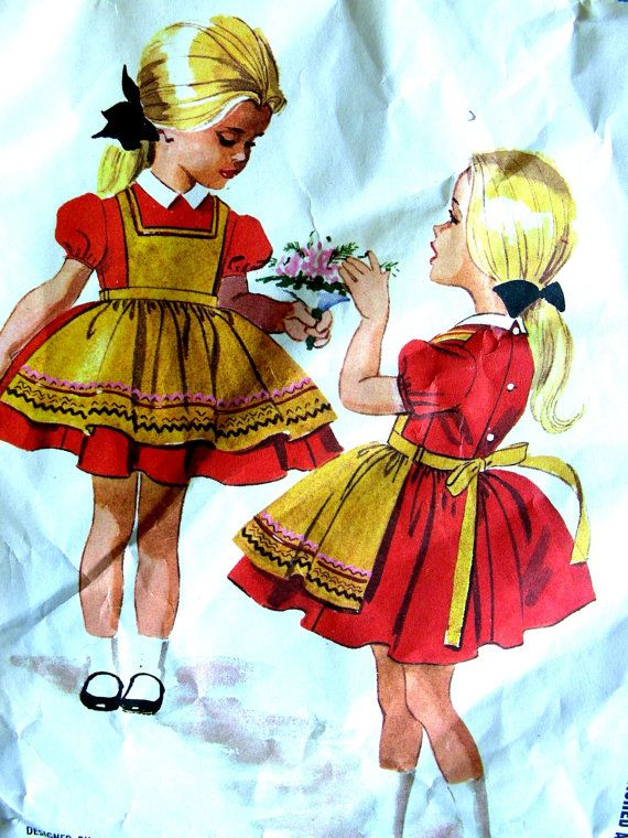 Vintage 1961 McCall's Pattern 6024 - Size 5 -  Helen Lee Designed Little Girls' Darling Dress with Attached Apron