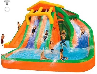 Roaring Rapids Water Park-one of the largest blow up water slides you can buy today. It's actually 3 slides in one. The entire water park inflates in under 3 minutes thanks to the continuous airflow blower and heavy duty Dura-Tech construction ensures strength and durability all summer long.