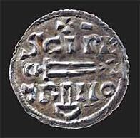 Silver 'St Peter' penny from York. The final 'I' of 'PETRI' takes the form of Thor's hammer