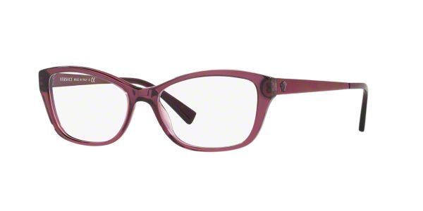 Versace mixes theatrical drama with elegant couture for a look that's edgy and lux. These women's designer eyeglasses in transparent plum add a trendy twist to the feminine cat eye shape. Crafted from cellulose acetate, a natural plastic derived from cotton, these frames are flexible yet strong as well as hypoallergenic for those with sensitive skin. Flex hinges resist bending and give a comfy, adjustable fit. The iconic Versace medusa sits proudly atop smooth tapered temples.