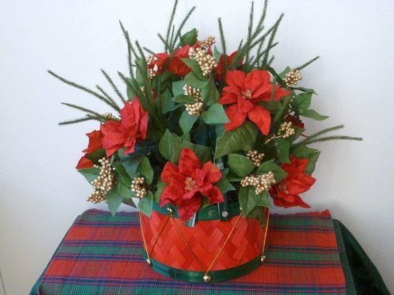 Christmas toy drum basket centerpiece poinsettias gold artificial berries faux evergreen chipwood woven silk floral arrangement red green