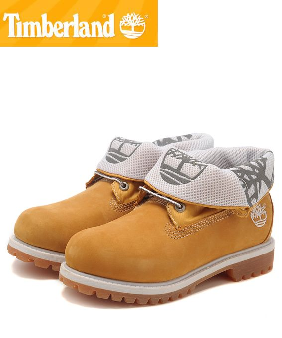 Timberland Men Roll Top Boots Wheat White Yellow Brown.