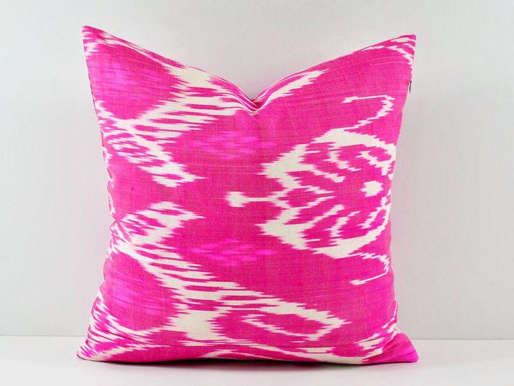 Ikat Pillow, Hand Woven Ikat Pillow Cover, Ikat throw pillows, Pink Ikat Pillow, Designer pillows, Decorative pillows, Accent pillows by BlackFigDesigns on Etsy https://www.etsy.com/listing/195502043/ikat-pillow-hand-woven-ikat-pillow-cover