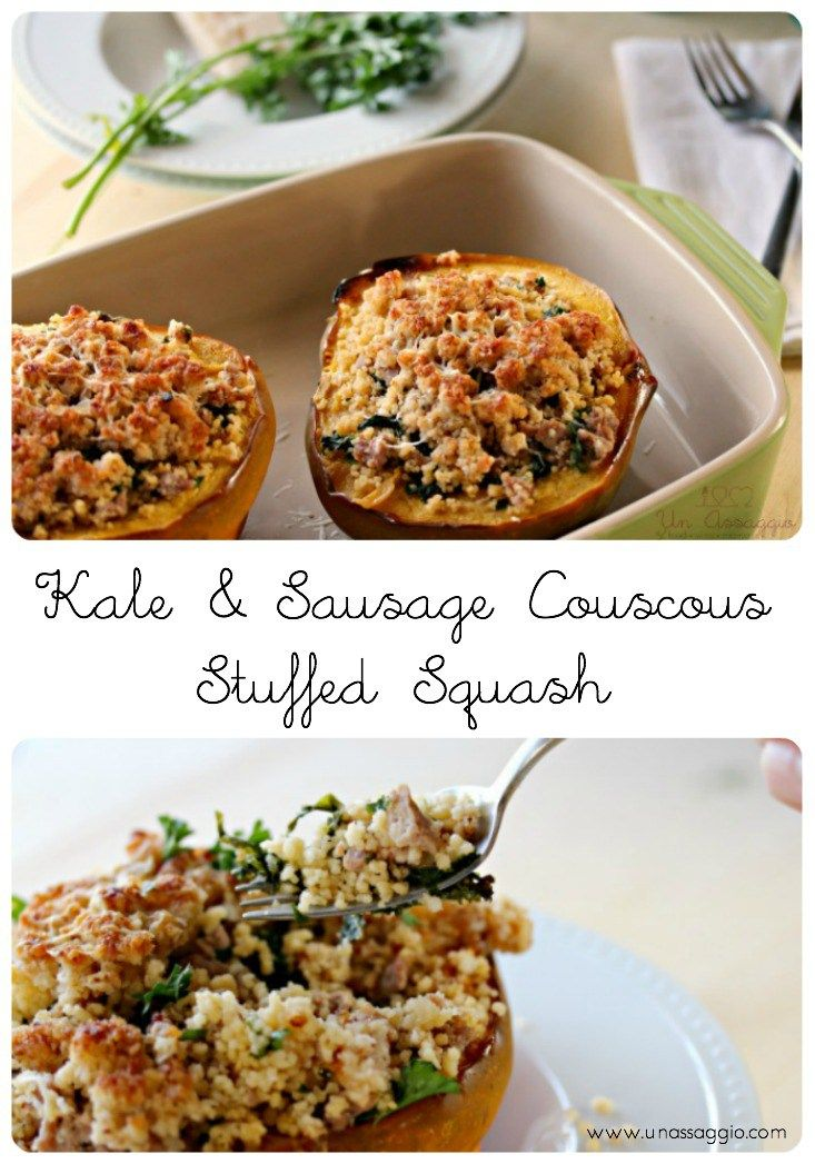 Kale & Sausage Couscous Stuffed Squash is healthy, delicious fall comfort food at its best! Forget one pot dinners, one bowl is all you | Un Assaggio of Food, Wine & Marriage