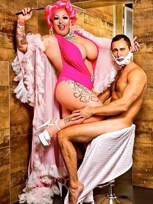 A drag queen having sex