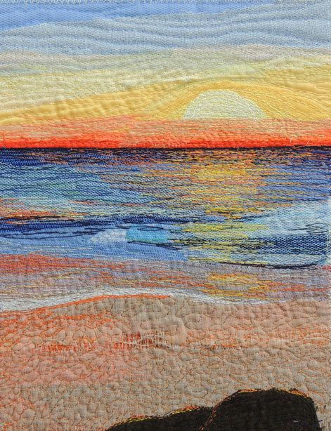 "Textile Art Quilt, ""Early Riser"" by Rebekah Dundon: thread painting, tulle, upcycled fabrics"