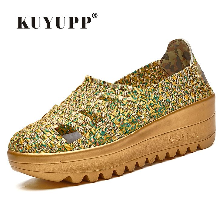 KUYUPP 2016 Fashion Cane Women Casual Shoes Summer Low Top Wedges Women's Trainers Round Toe Gold Ladies Shoes Size 35-40 YD97