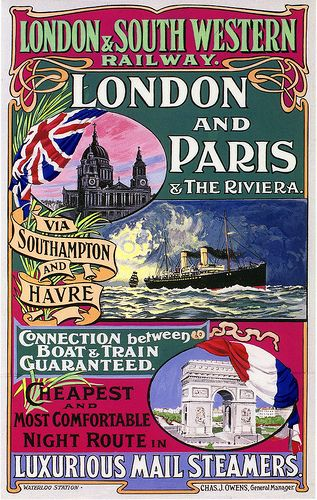 London and Paris Poster, Edwardian Period by Dr John2005, via Flickr  #vintage #travel #poster