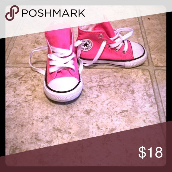 Pink high top converse Worn twice. High top baby converse size 5! Hot pink in color. Converse Shoes Sneakers