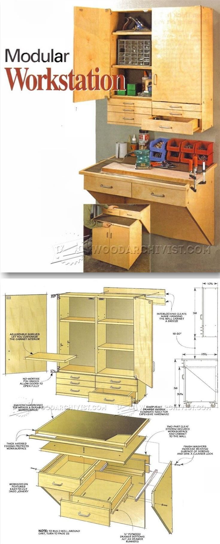 Modular Workstation Plans - Workshop Solutions Plans, Tips and Tricks   http://WoodArchivist.com