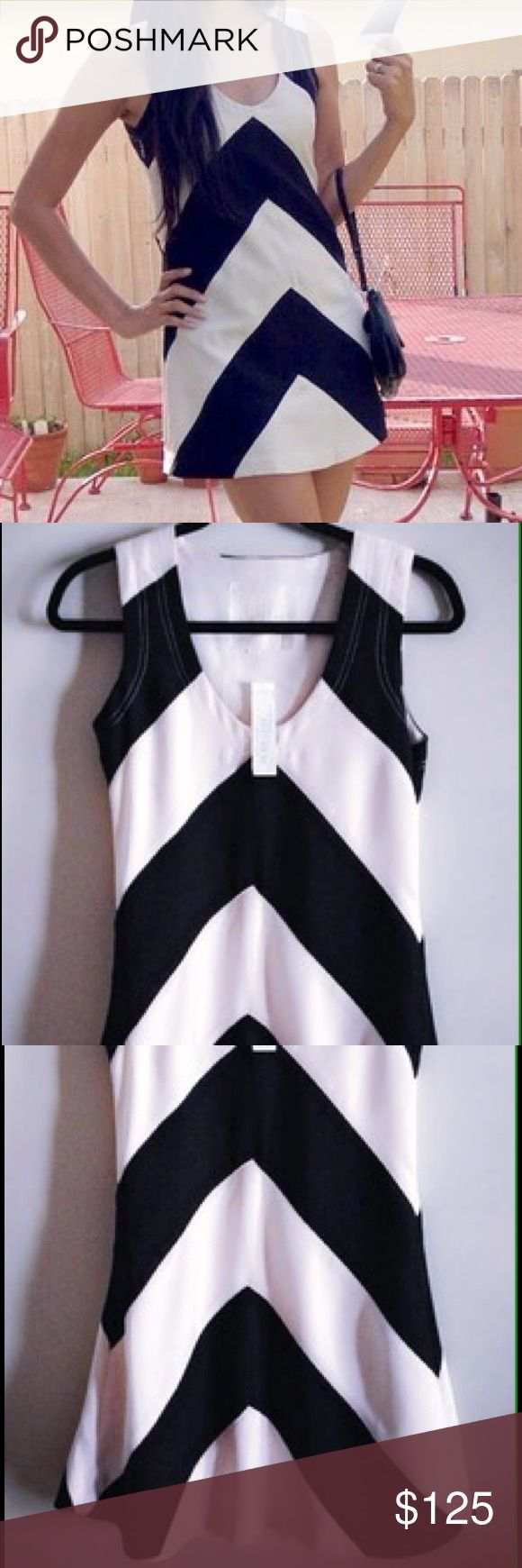 NWT KARTA Zig Zag Chevron Print Dress 6,8 Feminine, Slimming, Shift dress with a pale peach/nude detachable slip inside. A little hard to see beyond the A line on a hanger but it has a little swing to it. Fits a 6 or an 8 - tags read 8. A Shopbop purchase. KARTA Dresses Mini