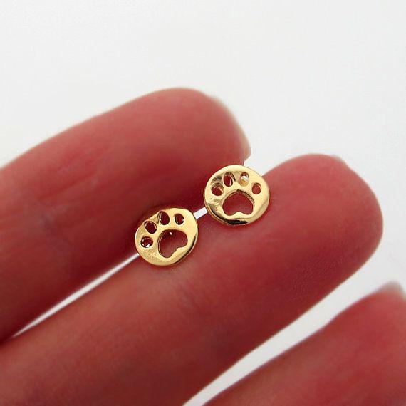 Gold Paw Earrings - Tiny Paw Shaped Stud Earrings - Pet Lovers Earrings - Dog Paw Studs on Luulla