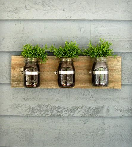 Triple Mason Jar Wall Planters   Bring the outdoors in with this mason jar wall organizer. The ...   Pots & Planters