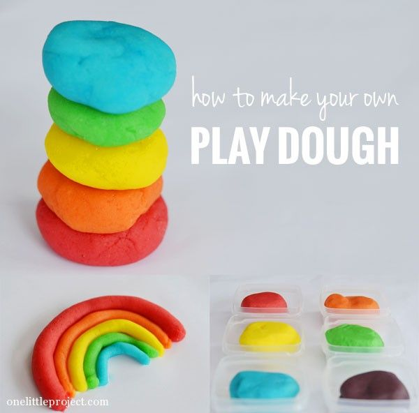 How to make your own play dough, plus a list of the amount of food coloring you need to get the right colors!  | onelittleproject.com