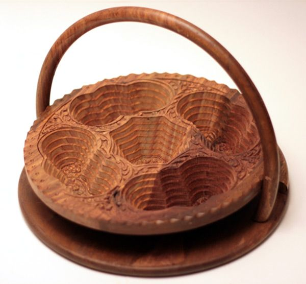 """14"""" Collapsible Basket/Trivet with 4 Butterflies, from Wood Signature"""