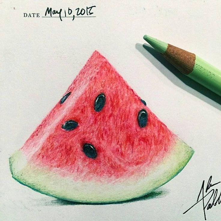 """• Wonderful watermelon drawing ✏ by @adampadilla follow him ! • Follow @art_hyperrealistic for see amazing artworks ! • #art_spotlight #arts_gallery…"""