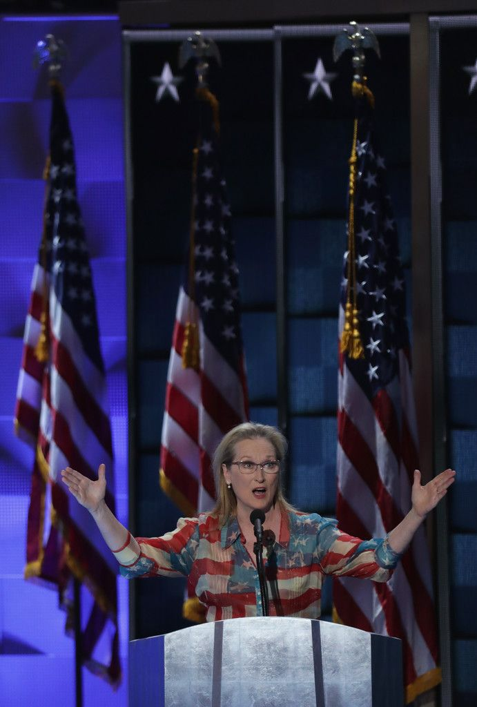 Meryl Streep Photos - Actress Meryl Streep delivers remarks on the second day of the Democratic National Convention at the Wells Fargo Center, July 26, 2016 in Philadelphia, Pennsylvania. Democratic presidential candidate Hillary Clinton received the number of votes needed to secure the party's nomination. An estimated 50,000 people are expected in Philadelphia, including hundreds of protesters and members of the media. The four-day Democratic National Convention kicked off July 25…